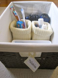 Fun basket for a house guest! Include the essentials like a toothbrush, toothpaste, shampoo, conditioner, soap, etc.