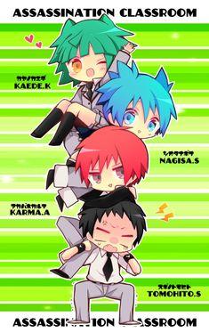 Sugino Tomohito, Akabane Karma, Shiota Nagisa, Kayano Kaede.
