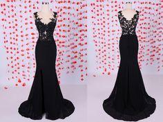 Simple Mermaid Scoop Chiffon Long Black Graduation/Evening/Prom Dresses With Appliques