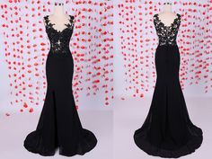 Simple Mermaid Scoop Chiffon Long Black Graduation/Evening/Prom Dresses With Appliques