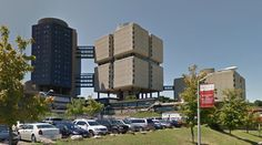 Stony Brook University Hospital - 1976-80 by Bertrand Goldberg - #architecture #googlestreetview #googlemaps #googlestreet #usa #stonybrook #brutalism #modernism