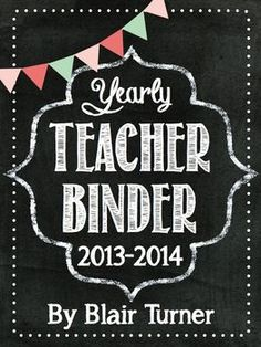 Teacher Binder - Chalkboard Theme {2013 - 2014}...includes binder covers/spine labels, substitute information, teacher planning pages - everything you need to put together super-cute teacher binders! $