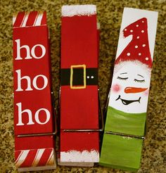 Hand Painted Clothes Pins (clothespins) - good idea for chocolate wrappers Kids Christmas Ornaments, Christmas Projects, Winter Christmas, Christmas Decorations, Craft Stick Crafts, Holiday Crafts, Holiday Fun, Painted Clothes Pins, Clothes Pin Ornaments