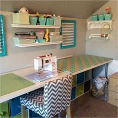 44 Perfect Sewing Room Ideas for Small Spaces Sewing Room Ideas for Small Spaces 61 262 Best Sewing Spaces Images Sewing Room Design, Craft Room Design, Sewing Spaces, My Sewing Room, Sewing Studio, Small Sewing Rooms, Sewing Office Room, Sewing Room Decor, Craft Space
