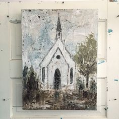 MIDDLE OF A MEMORY vicki denaburg local artist birmingham al alabama canvas art church chapel rural country countryside white Farmhouse Paintings, Barn Paintings, Acrylic Paintings, Oil Painting Pictures, Farm Art, Christian Art, Painting Inspiration, Watercolor Art, Art Projects