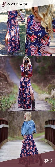 Romantic Floral Double Slit Maxi Dress in Navy This gorgeous maxi dress comes in navy and maroon (you can find the maroon one in our closet as well)! It is a very soft material that provides stretch. The second and third pictures are from our collab with Julie from Blazers & Bubbly! Her blog post on Paperback Boutique is coming soon  Paperback Boutique Dresses Maxi