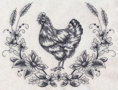 Hen Sketch Wreath design (L3500) from www.Emblibrary.com                                                                                                                                                      More