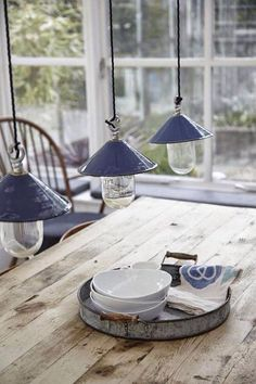 pottery pendant lights.  charming!