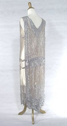 Grey beaded chiffon tabard
