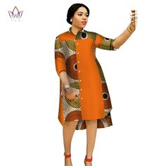 Online Shop 2017 Women Maxi Dress African Print Dresses for Women Three-Quter Sleeve Dress Women Print Clothing Plus Size BRW Short African Dresses, African Print Dresses, African Print Fashion, African Fashion Dresses, African Print Jumpsuit, African Attire, Traditional Outfits, Ideias Fashion, Dresses With Sleeves