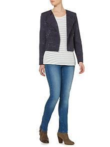 Linea - Collarless jacquard biker jacket reduced from £120 to £36 - I know it's not the soft navy jacket you had in mind and may not be your thing, but it's a fun take on a biker jacket?