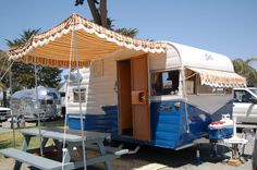 shasta awnings | ... and blue striped side awning on a 1961 Shasta Compact vintage trailer