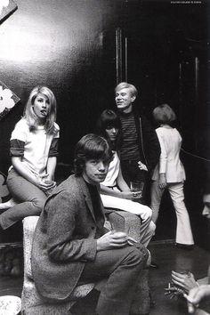 Mick Jagger, Andy Warhol, and Jane Holzer circa 1965.
