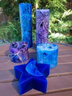 Brilliant blue & purple chunk candles scented with melon & berry #handmade #candles