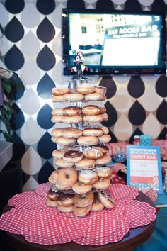 Comic Book & Superhero Wedding: Holly & Anthony · Rock n Roll Bride Donut Tower, Different Wedding Ideas, Dessert Stand, Donut Party, Maybe One Day, Got Married, Donuts, Wedding Cakes, Comic Books