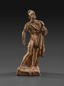 """D'Angers's large marble statue of the ancient Greek warrior Philopoemen, in the Louvre, captures """"the struggle between physical nature and m..."""