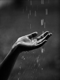 rain in black and white