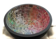 Postage stamp decoupaged bowl-- to organize by place, color, picture theme. Arts And Crafts Projects, Fun Crafts, Paper Crafts, Old Stamps, Vintage Stamps, Washi, Decoupage, Postage Stamp Art, Displaying Collections