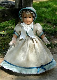 1850's  Victorian Era Dress Gloves & Bonnet - Turquoise Ivory - fit American Girl Doll or other 18 inch doll