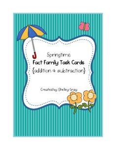 FREE! Springtime Fact Family Task Cards for addition and subtraction