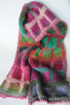 Question..... Would I be able to knit this without going crazy????   colorful scarf grandpurlbaa.blogspot.com