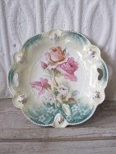 RS Prussia Plate with Pink Roses