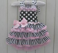 H30   Baby Girl Beautiful Cute Pink Bow Big Dots Sleeveless Baby Tutu Dress  US
