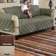 """Deluxe Quilted Microfiber Furniture Protector. *** sofa is 68"""" width with arm panels 23""""W x 43"""" L. Cost: $59.95.  XL Sofa is 78""""W.  XL sofa arm panels 25""""W x 43"""" L.  Cost: $69.95."""