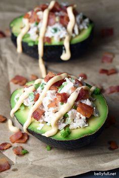 Halved avocados fill