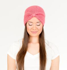 Rose Pink Turban Crocheted Hat Womens by vintagelookcreation2