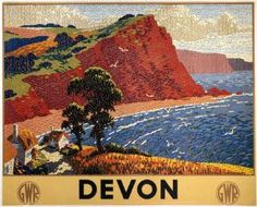 English Railway Travel Art Poster Print, Devon England by GWR Posters Uk, Train Posters, Railway Posters, Jazz Age, Devon Holidays, British Holidays, British Travel, National Railway Museum, Art Deco