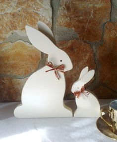 Shabby Chic Wooden Bunnies finished
