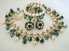 Vintage VENDOME AB Crystal & Pearl Bib Necklace Bracelet Earrings Set with Tag #Vendome #VINTAGESET