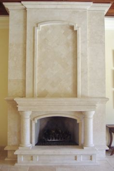 Custom Stone Fireplace Mantels & Surrounds Stone Fireplace Surround, Fireplace Mantles, Limestone Fireplace, Fireplace Remodel, Fireplace Ideas, Trophy Rooms, Travertine Tile, Stone Carving, Hearth