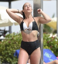 Oh dear. Stephanie has had a turbulent summer, having faced a very public sacking from her job on Hollyoaks due to turning up to work intoxicated Stephanie Davis, Black And White Bikini, Hollyoaks, Swimwear Cover Ups, Hollywood Celebrities, Swimsuits, Bikinis, Summer Time, Turning