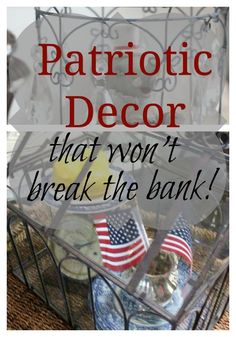 Decorating for holidays doesn't have to be expensive! Patriotic decor that won't break the bank! Patriotic Party, Patriotic Decorations, Patriotic Crafts, Cottage Style Decor, Cottage Chic, Unique Home Decor, Home Decor Items, Kitchen Magic, Quick Crafts