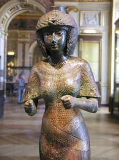 Queen Karomama. Consort of the 22nd Dynasty Pharaoh Osorkon I from Lybia, had this statue of bronze inlaid with gold and silver fashioned for her chapel at Karnak. c. 923BC