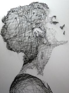 Beautiful thread drawings - by Debbie Smyth - Incredible portraits and art installations at ego-alterego.com