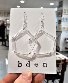 Pentagonal tube earrings by bdenglass on Etsy