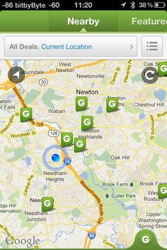 Current location / Refresh - I like the contrast and opacity against the map (Groupon app)