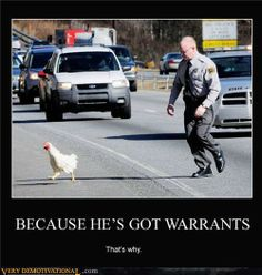 Police Demotivational Posters | ... -the-chicken-cross-the-road-police-warrants-demotivational-poster.jpg