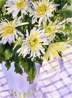 Chrysanths 11 x 15 inches Fiona Peart