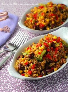 Vegan recipes... Cajun Brown Rice with Veggies and Red Beans-will try with adzuki beans instead of kidney