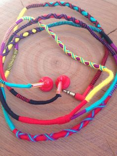 Wrapped Colorful Earbuds Handwrapped Multicolor Earbuds Handmade Earbuds Wrapped Colorful Earphones Wrapped Colorful Headphone Philips