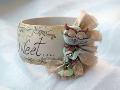 "bangle ""sweet owl"" | bracciale-bangle in legno dipinto a man… | Flickr"