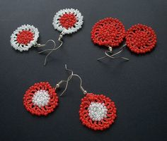 beaded earrings crochet earrings hoop earrings by GuruMIme on Etsy, $9.00