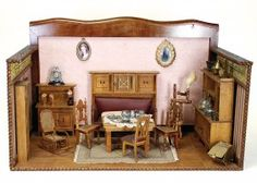 dollhouse casing, with richly wood furnishings, (living