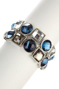 Olivia Welles Sparkling Sage Multi-Bezel Geometric Resin Stretch Bracelet on HauteLook