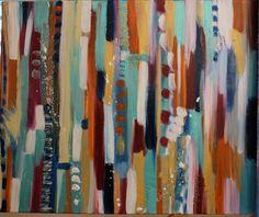 Tableau Huile - Peinture Abstraite Multicouleurs - 53 x 61 cms : Peintures par mimipeint