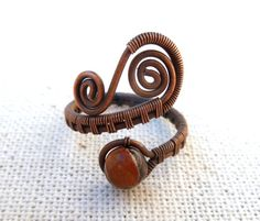 Adjustable Wire Wrapped Ring / wire wrapped jewelry handmade / Blossom Agate gemstone / wire jewelry / copper jewelry / earthy jewelry